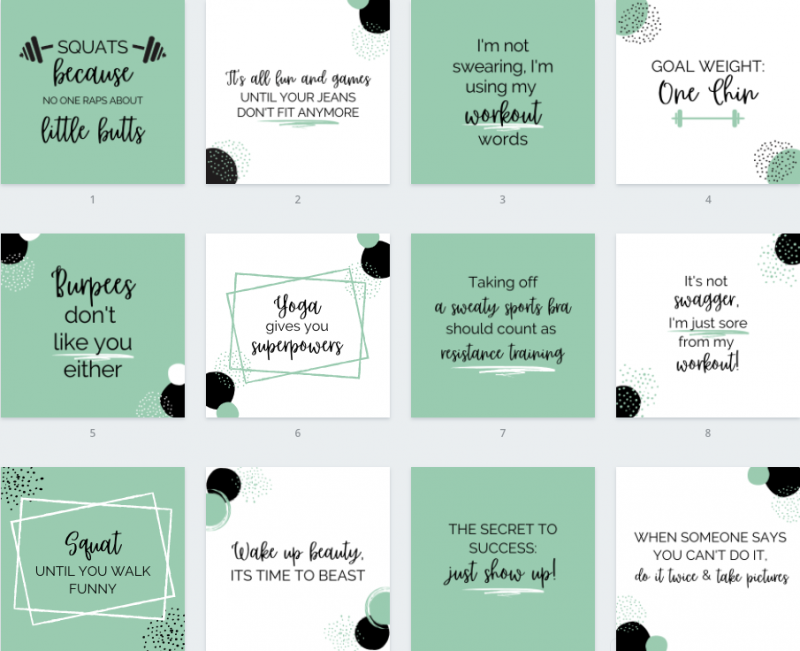 Funny Fitness Quotes Template Pack 1